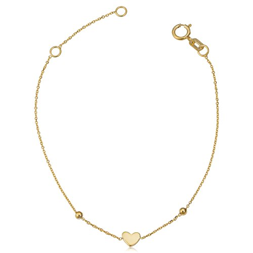Children's 14k Yellow Gold Heart Bead Adjustable Length Bracelet (adjust to 5.5