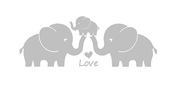 Tres lindos elefantes padres y niño familia Wall Decal ...