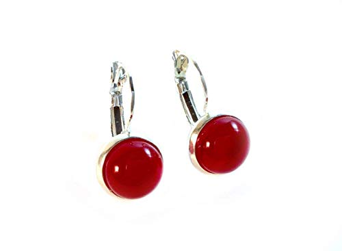 Fused Glass and 925 Sterling Silver Translucent Red Earrings by Gerty