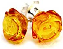 925 Sterling Silver Stud Earrings Rose with Genuine Natural Baltic Amber