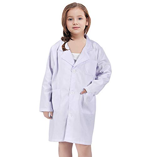 White Kid Lab Coat for Scientist Doctors Role Play Costume Set (Large, White)