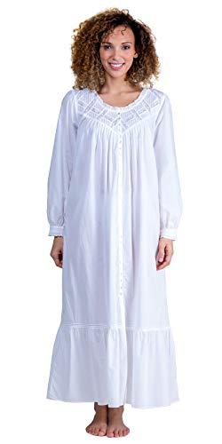 (Eileen West Women's Cotton Lawn Ballet Button Front Coat White Small)