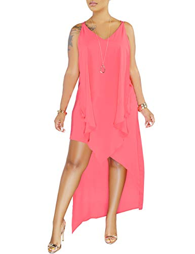 (YouSexy Women's Casual Chiffon Dress Asymmetrical High Low Tank Dress for Summer)