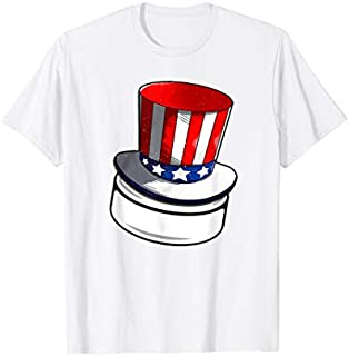 Hockey With American Flag Hat Patriotic 4th Of July T-shirt   Size S - 5XL