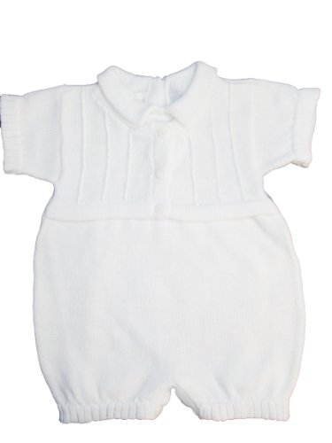 White 100% Cotton Boy's Christening Baptism Knit Romper w/Attached Vest 12 Month