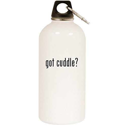 Molandra Products got Cuddle? - White 20oz Stainless Steel Water Bottle with Carabiner