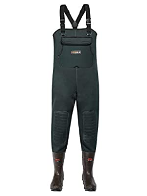 HISEA Neoprene Fishing Chest Waders for Men with Boots Cleated Bootfoot Waterproof Mens Womens Waders