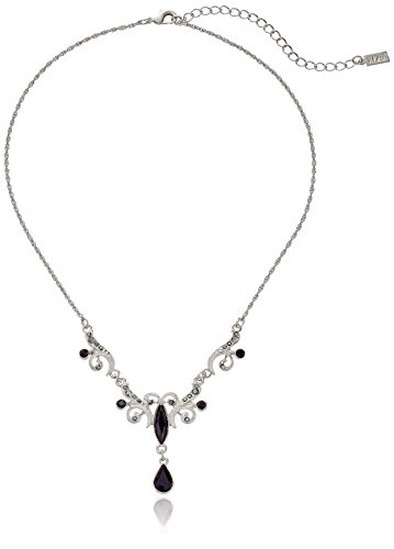 """1928 Jewelry Silver-Tone Black and Hematite Color 16"""" Adjustable Teardrop Necklace, 16"""" + 3"""" Extender"""