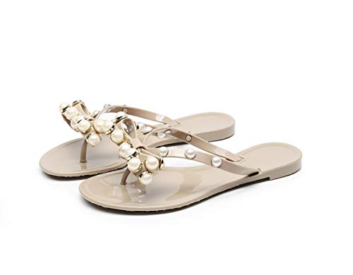 (Women's Jelly Ribbons, Small Beads, Bow Ties, Slippers, Flat Sandals, Slippers.)
