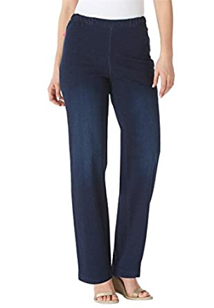 Women's Plus Size Wideleg Pull On Denim at Amazon Women's Jeans store