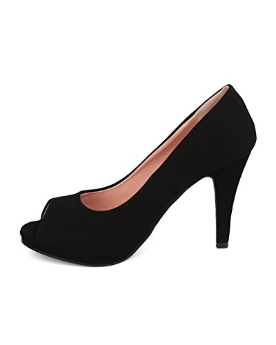 Dbdk Fk44 Peep Toe Stiletto Donna In Nubuck - Nero