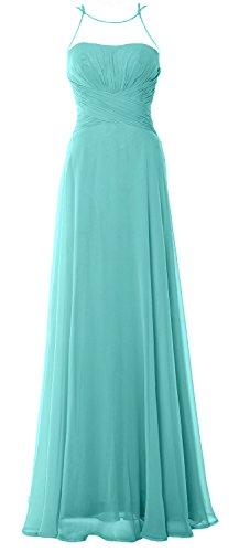 Chiffom MACloth Turquoise Gown Dress Simple Halter Formal Prom Bridesmaid Elegant Long XZZ17qa