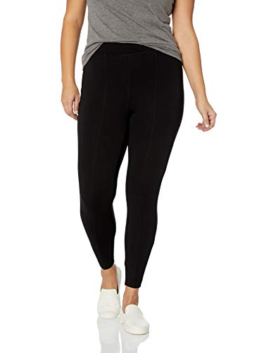 Daily Ritual Women's Plus Size Faux 5-Pocket Ponte Knit Legging, Black, 6X Regular