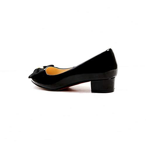 Travel Pumps Black Bows Solid APL11058 Urethane Womens BalaMasa Shoes tqPv7v