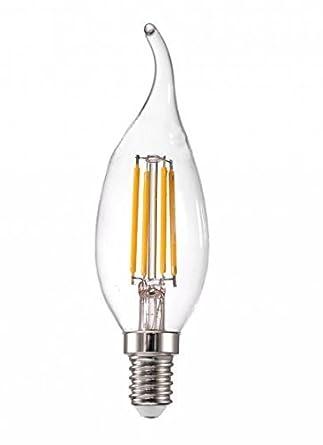 Marco Tielle bombillas LED regulables tipo vela de filamentos retardante de giro bombilla E14 4 W luz blanca cálida de bajo consumo nominal + a 340 lumens: ...