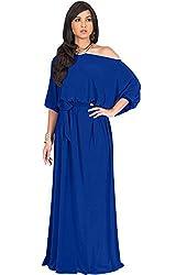 KOH KOH Womens Long Sexy One Shoulder Flowy Casual 3/4 Short Sleeve Maxi Dress