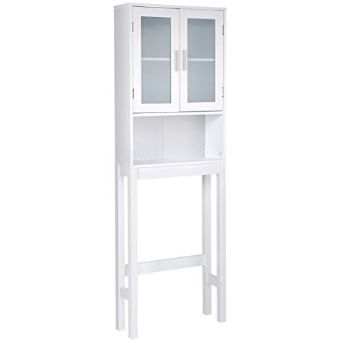 - Giantex Bathroom Over-The-Toilet Space Saver Storage with Adjustable Shelf and 2-Door Wooden Cabinet, White