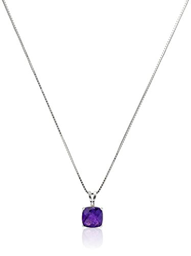 Amethyst Cut Necklace - Sterling Silver Cushion-Cut Checkerboard Amethyst Pendant Necklace (6mm)