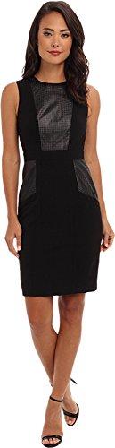 Calvin Klein Women's Luxe And Leather Sheath Dress Black Dress 12