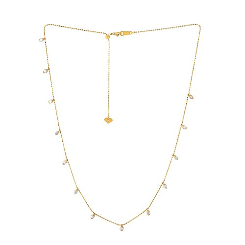 Mettlle 0.85 Cttw Diamond Station Necklace with 18K Yellow Gold Chain, ()
