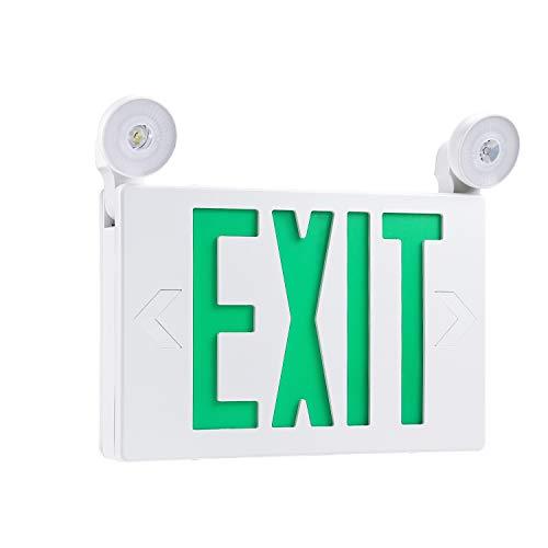 Leds Light Exit Sign - Green LED Exit Sign with UL Listed Emergency Light, AC 120V/277V, Battery Included, Ceiling/Side/Back Mount Sign Light, for Hotels, Restaurants, Shopping Malls, Hospitals