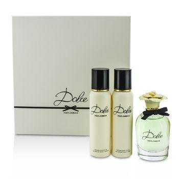 Dolce Gabbana Lotions (Dolce & Gabbana Dolce Coffret: Eau De Parfum Spray 75ml/2.5oz + Body Lotion 100ml/3.3oz + Shower Gel 100ml/3.3oz 3pcs)