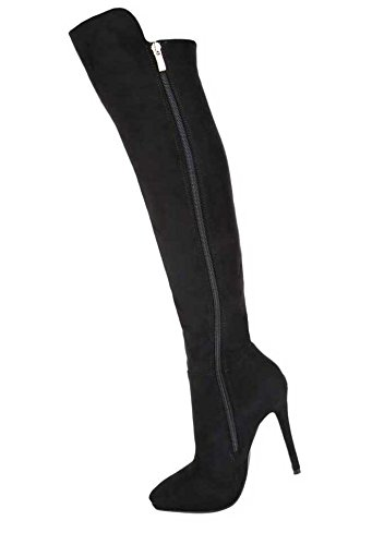 Damen Overknee Stiefel Schuhe High Heels Schwarz Rot 36 37 38 39 40 41 Schwarz