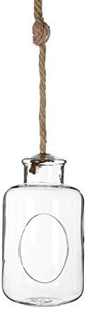 NaDeco Pflanzenglas Deko Flasche zum Hängen h. 21cm Ø12cm Glasvase zum Aufhängen Pflanzen Halterung Pflanzen Terrarium Sukkulenten Glas Pflanzgefäß zum Aufhängen Tillandsia Glas
