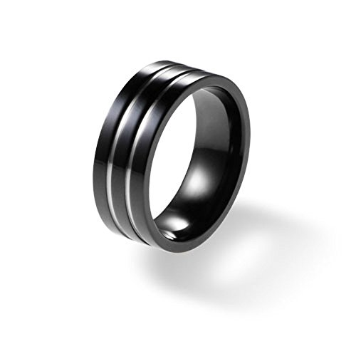 8mm Flat Black Titanium Ring for Men Two Polished Grooves Comfort Fit SZ 9-12 Free Engraving Service