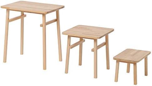 YPPERLIG: Juego de 3 mesas nido de madera de haya: Amazon.es: Hogar