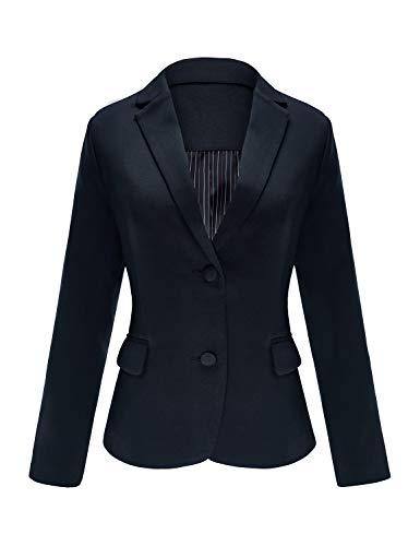Luyeess Women's Casual Work Office Notch Lapel Pocket Buttons Blazer Suit Jacket Navy Blue Size L