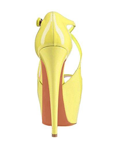 Arc-en-Ciel zapatos de las mujeres del alto talón de la plataforma de la correa del calzado Amarillo