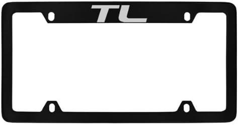 Acura TL Black Powder Coated Bottom Engraved Metal License Plate Frame Holder