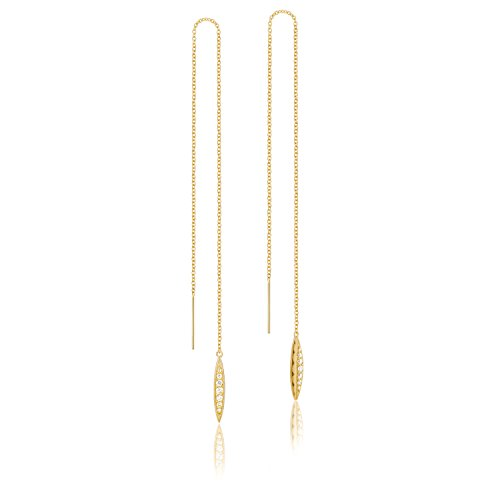 Tacori SE224Y 18K Yellow Gold The Ivy Lane Diamond Pavé Surfboard Thread Earrings (0.14 cttw, H to I Color, I2 to I3 (Tacori 18k Earrings)