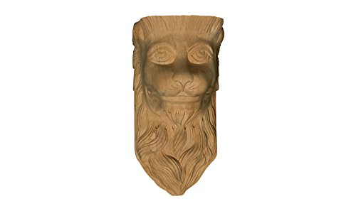 Medium Lion Head Corbel in Hard Maple - Dimensions: 12 1/2 x 6 1/2 x 6 1/4 inches