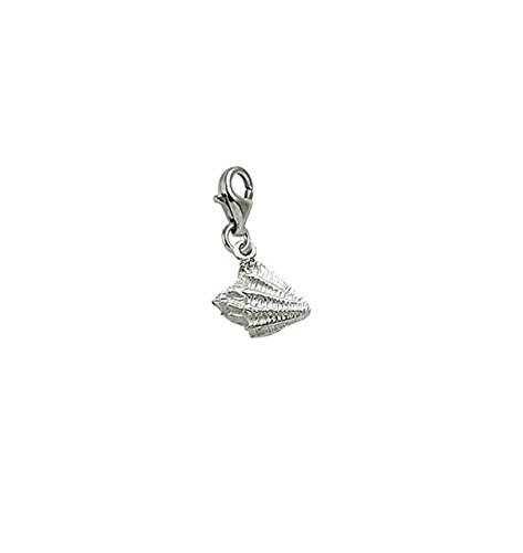 Sterling Silver Conch Shell Charm With Lobster Claw Clasp, Charms for Bracelets and Necklaces