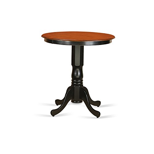 East West Furniture EDT-BLK-TP Eden Round Counter Height Table, Black/Cherry Finish - 24 Black Cherry Counter
