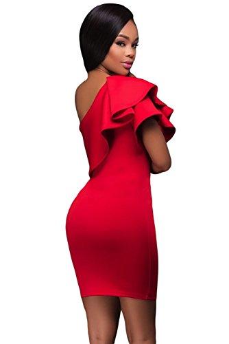 Neue Damen Rot One Schulter asymmetrische Rüschen Mini Kleid Club Wear Sommer Kleid Casual Party Kleid Größe L UK 12EU 40