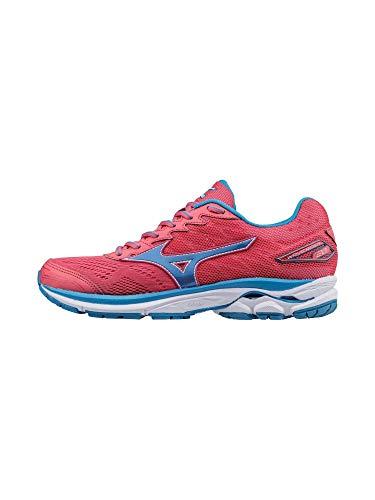 Mizuno Running Women's Wave Rider 20 Shoes, Paradise Pink/Blue Aster/ White, 7.5 B US