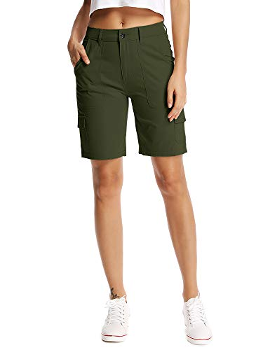 (Women's Relaxed Fit Casual Solid Cargo Bermuda Shorts Army Green Size 16)