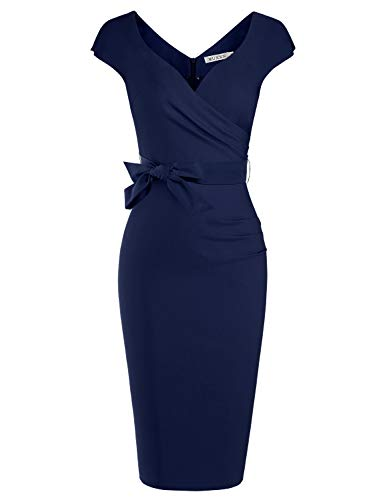 MUXXN Ladies Foraml Wedding Dark Blue Dresses Tie Bowknot Party Midi Dress (Blue L)