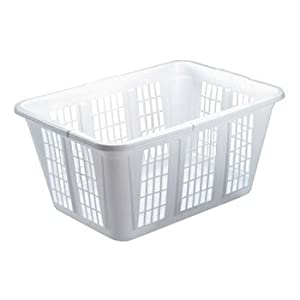 Rubbermaid Laundry Basket, 10 7/8w x 22 1/2d x 16 1/2h, Plastic, White - Includes Eight baskets.