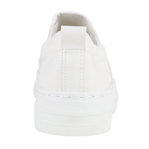 Sneaker Weiss Flandell Ons mit Stiefelparadies Plateau Slip Damen Metallic Glitzer w8C5qA