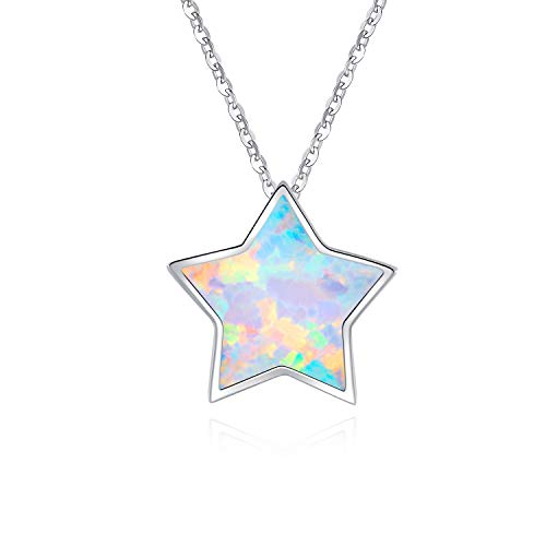 Lucky Opal Necklace - Minimalist Sterling Silver Simulated Opal Lucky Star Choker Necklace Cute Dainty Necklace for Women