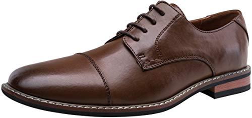JOUSEN Men's Oxford Classic Cap Toe Formal Dress Shoes (13,Dark Brown-2)