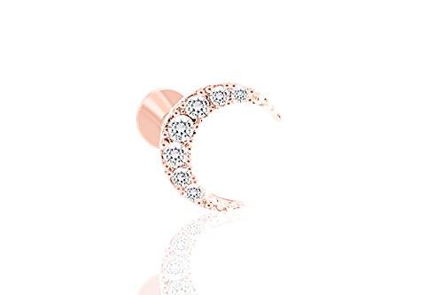 ONDAISY 14K Rosegold Palated 16g 6mm Cartilage Daith Tragus Helix Solid Boho Gypsy Sideways Half Blue Crescent Sailor Luna Moon Ear Studs Earring piercing Labret