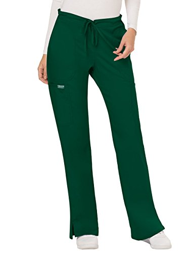 Cherokee Women's Mid Rise Moderate Flare Drawstring Pant, Hunter Green, Small
