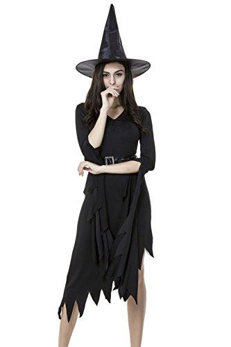 Women's Sexy Witch Halloween Dress With Belt Black XS (Sexy Witch Dress)