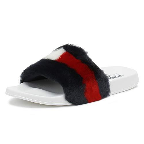 Fur Pool Slides Rwb Tommy Funny Womens Hilfiger Sxq6H