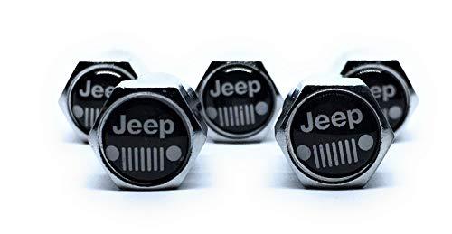 (Jeep Metal Tire Valve Stem Caps Set / 5 Pcs for WRANGLER SPORT S SAHARA RUBICON GRAND CHEROKEE LAREDO ALTITUDE STERLING EDITION LIMITED TRAILHAWK OVERLAND HIGH ALTITUDE SUMMIT SRT TRACKHAWK JK WILLYS)